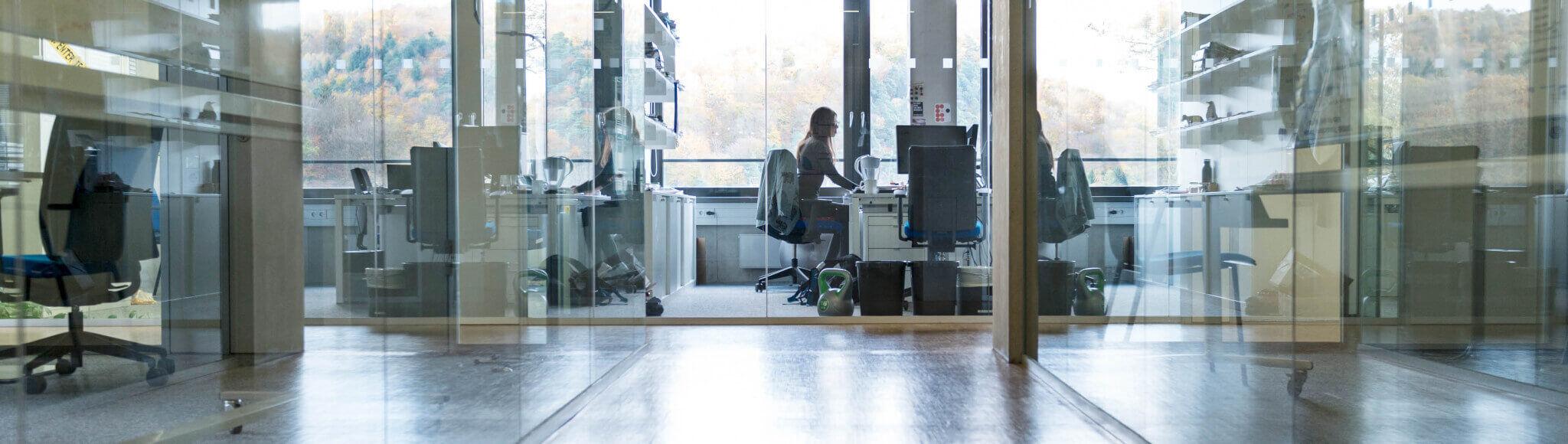 Headerbild Über-Uns-Seite: Die lichtgefluteten Büros an unserem Informatik Standort
