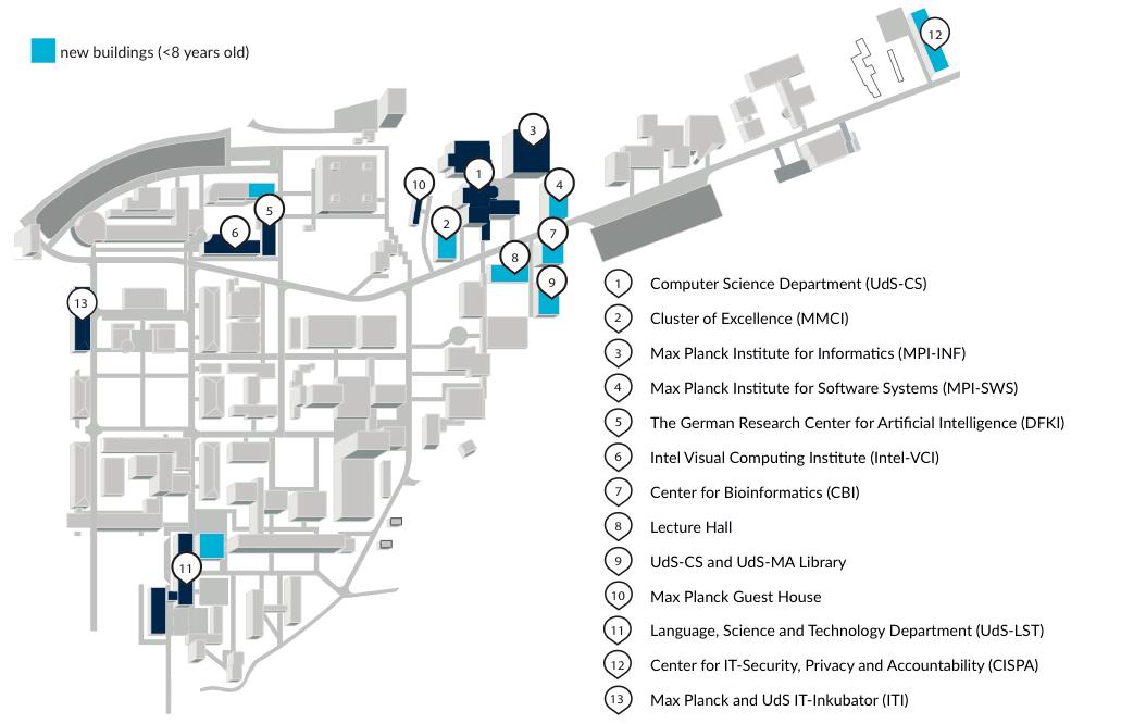 Karte des Saarland Informatics Campus