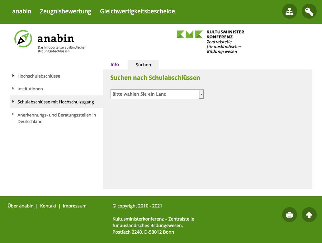 Anabin Homepage